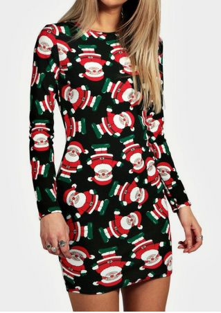 Christmas Santa Printed Bodycon Mini Dress