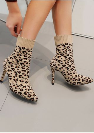 Knitted Leopard Printed Pointed Toe Sock Boots