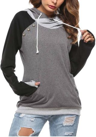 Color Block Button Long Sleeve Hoodie
