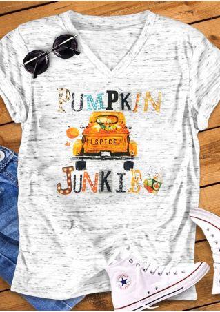 Pumpkin Spice Junkie V-Neck Casual T-Shirt Tee