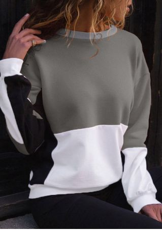 Color Block Splicing O-Neck Sweatshirt