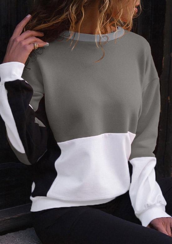 Color Block Splicing O-Neck Sweatshirt