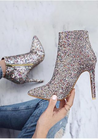 Glitter Zipper Pointed Toe Heels