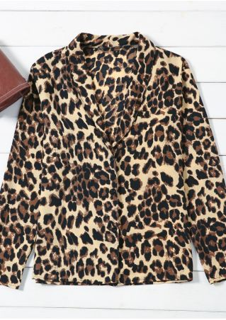 Leopard Printed Button Shawl Collar Blouse