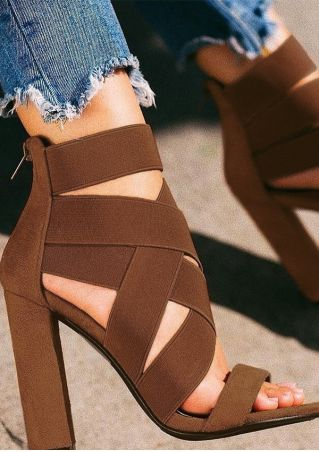 Solid Criss-Cross Ankle Strap Heeled Sandals