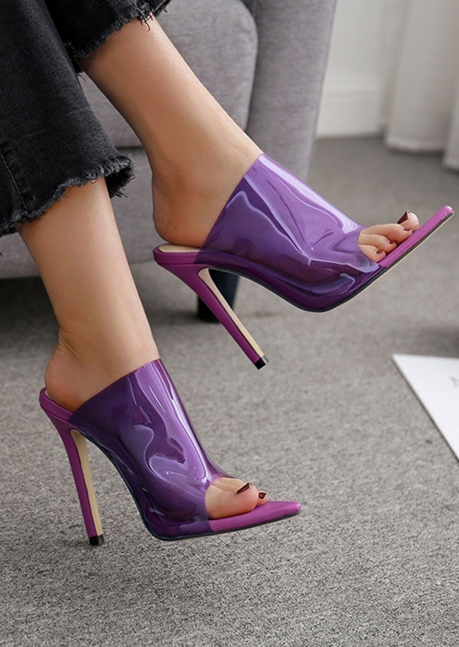 Solid Transparent Pointed Toe Heeled Sandals