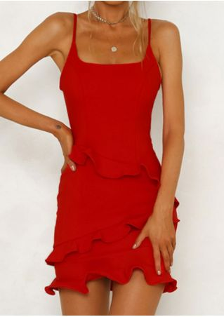 Solid Ruffled Bodycon Dress without Necklace