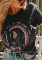 Take A Walk On The Wild Side Cactus T-Shirt Tee - Dark Grey
