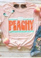 Just Peachy Short Sleeve T-Shirt Tee - Pink