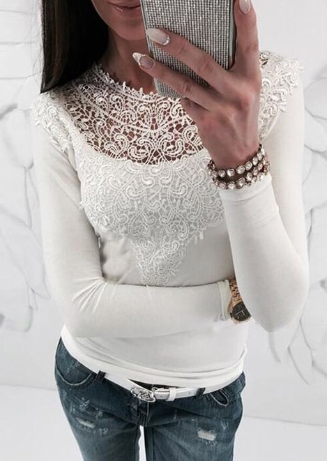 Solid Lace Splicing Blouse