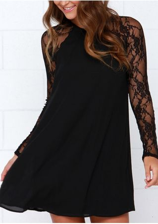 Solid Lace Floral Mini Dress