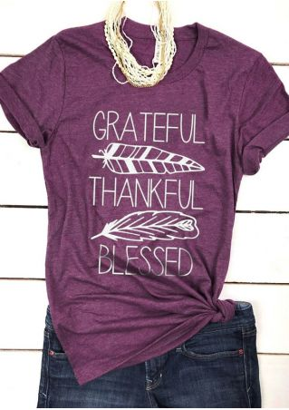 Grateful Thankful Blessed O-Neck T-Shirt Tee