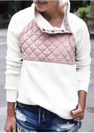 Color Block Button Long Sleeve Sweatshirt