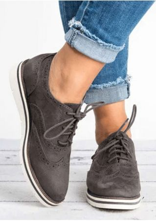 Solid Lace Up Round Toe Fashion Flats