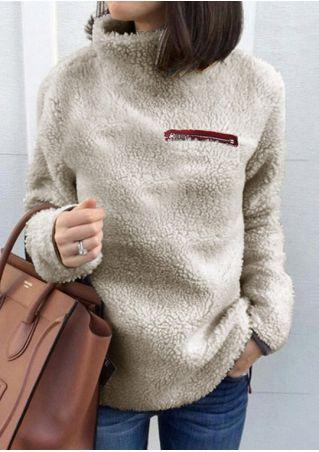Zipper Splicing Fluffy Long Sleeve Sweater