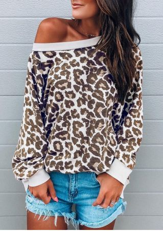 Leopard Printed Long Sleeve Casual Sweatshirt