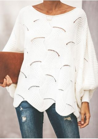 Solid Knitted Hollow Out Sweater without Necklace