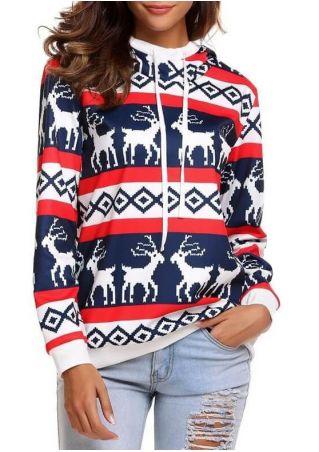 Christmas Reindeer Drawstring Hoodie