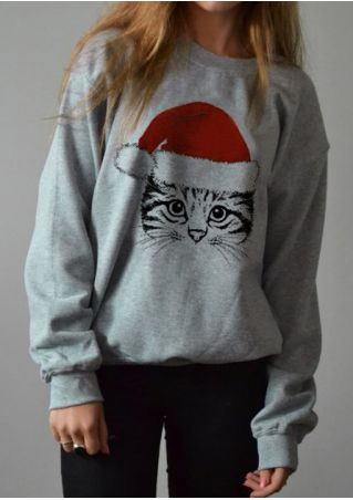 Christmas Cat Long Sleeve Sweatshirt