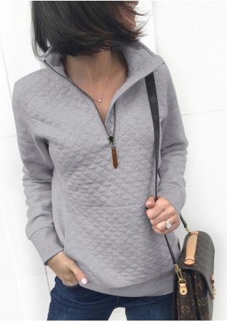 Solid Zipper Pocket Sweatshirt without Necklace