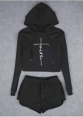 Faith Drawstring Hoodie and Shorts Set