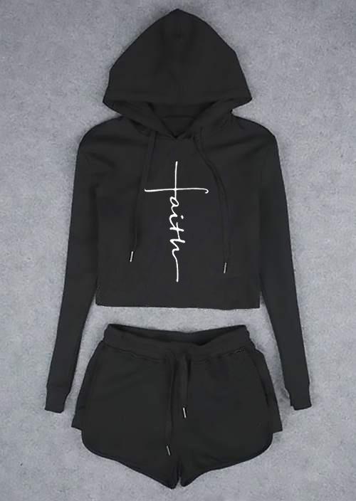 Faith Drawstring Hoodie and Shorts Set