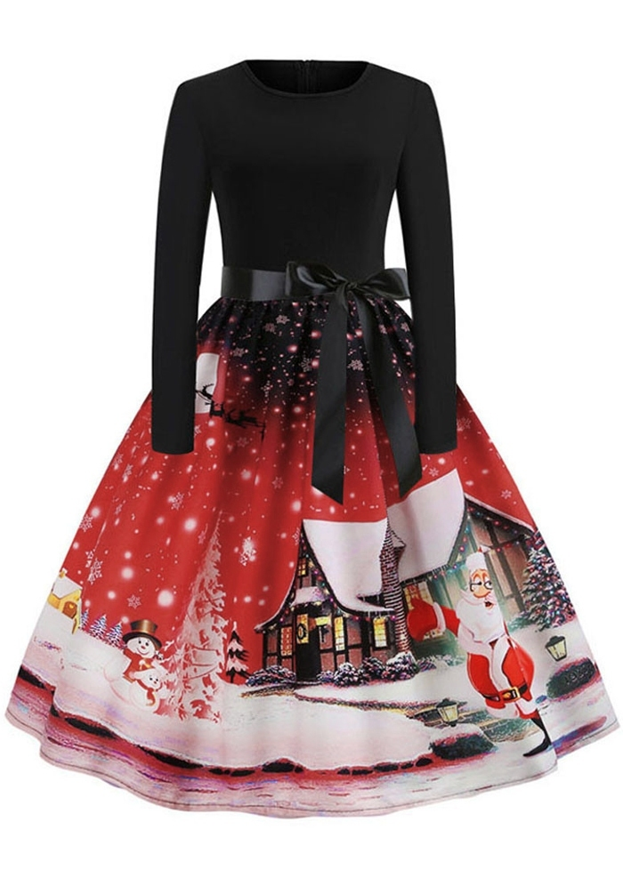 Christmas Santa House Splicing Casual Dress