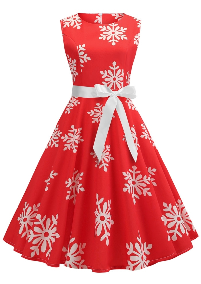 Christmas Snowflake Sleeveless Vintage Casual Dress