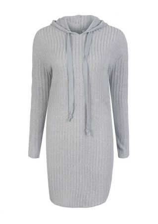 Solid Hooded Long Sleeve Mini Dress