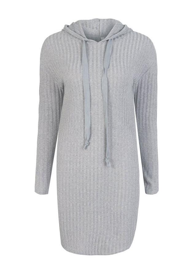 Solid Hooded Long Sleeve Mini Dress