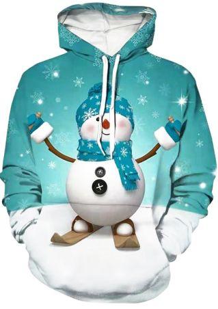 Christmas Snowman Drawstring Hoodie