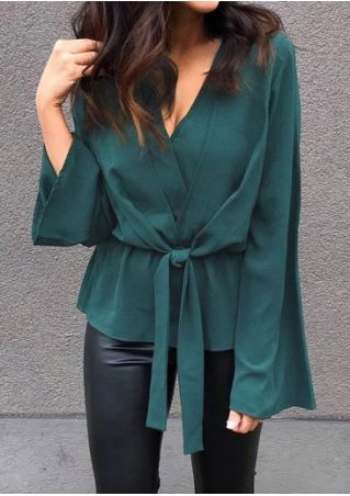 Solid V-Neck Tie Long Sleeve Blouse