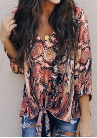 Snakeskin Printed Tie Blouse without Necklace