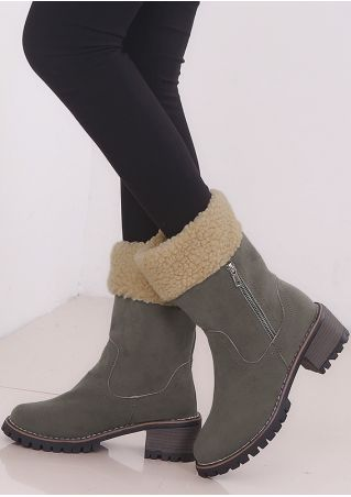 Splicing Zipper Round Toe Boots