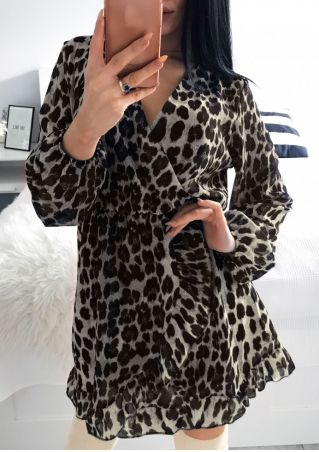 Leopard Printed Wrap Mini Dress