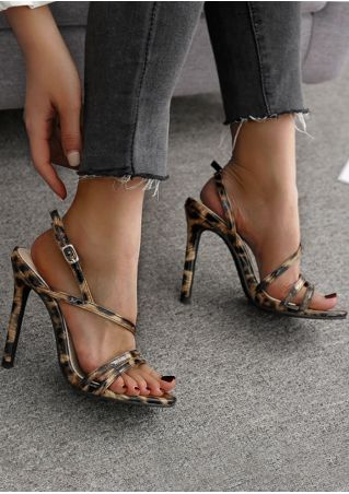 Leopard Printed Buckle Heeled Sandals