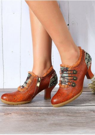 Leather Vintage Ruffled Paisley Heeled Boots