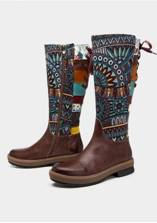 Leather Ethnic Splicing Lace Up Zipper Boots