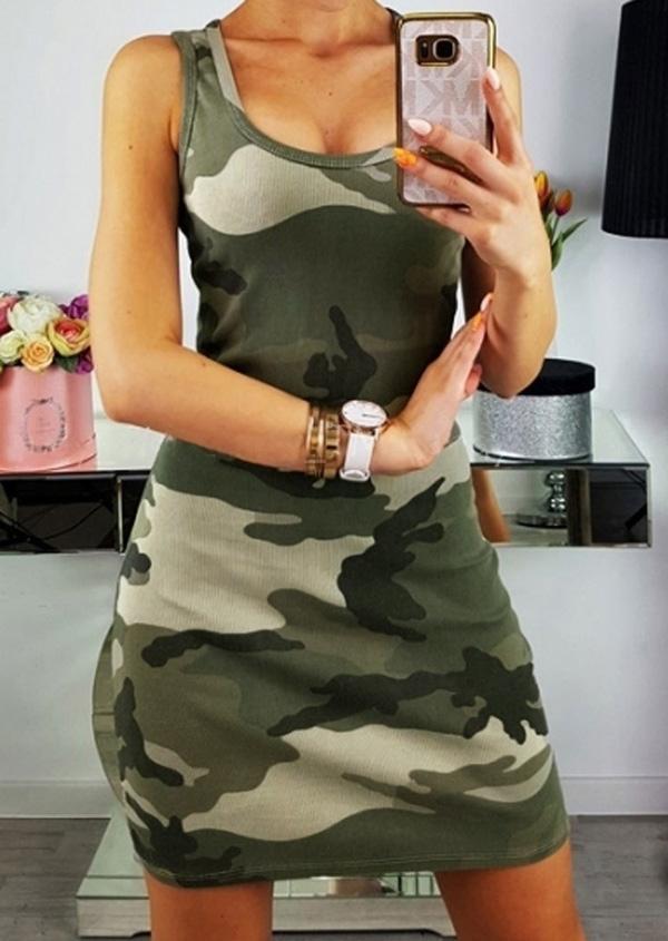 Camouflage Printed Sleeveless Mini Dress