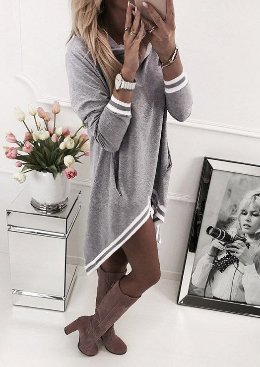 Striped Splicing Casual Hoodie Dress