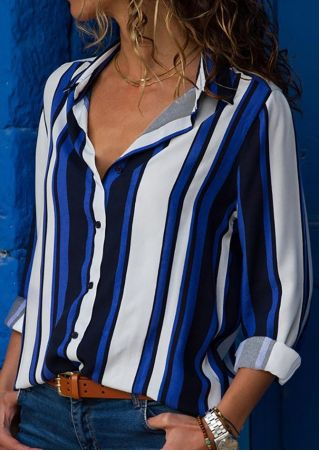 Striped Button Long Sleeve Shirt without Necklace