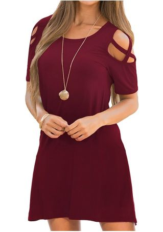 Solid Cold Shoulder Criss-Cross Mini Dress without Necklace