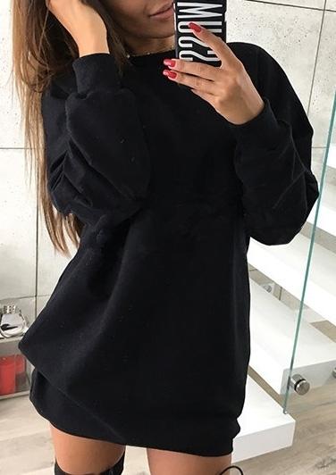 Solid O-Neck Long Sleeve Mini Dress