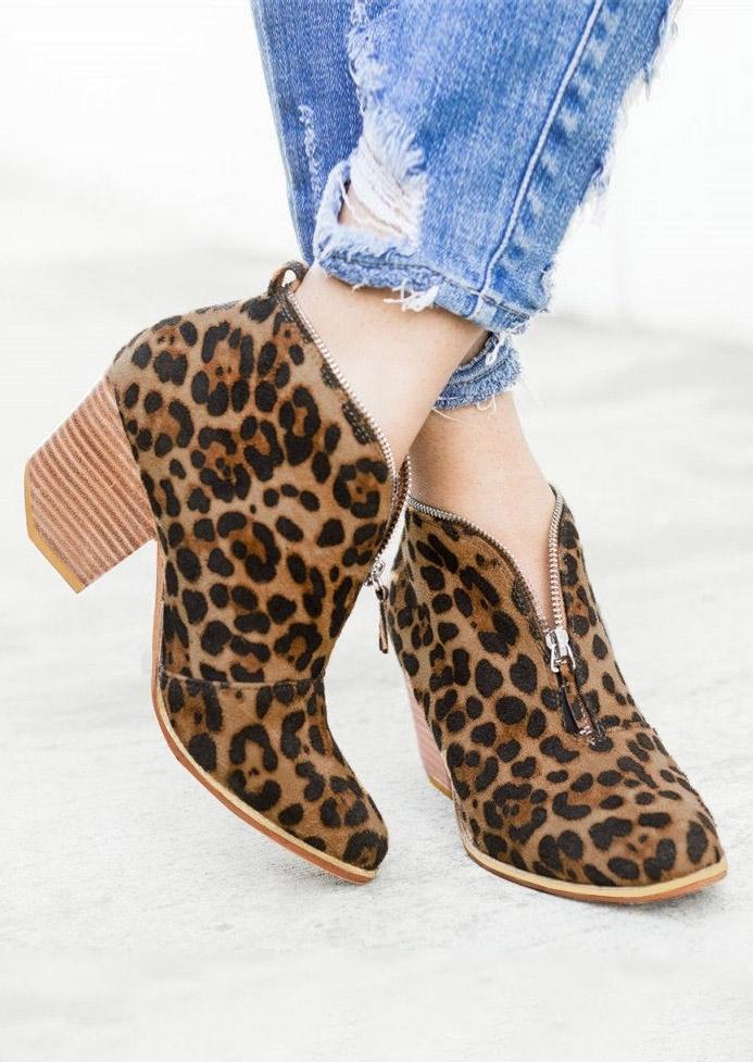 Leopard Printed Zipper Fashion Heeled Boots