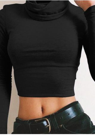 Solid Long Sleeve Slim Crop Top