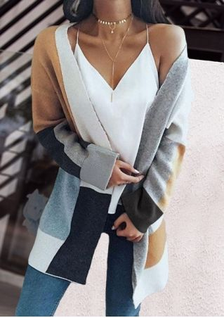 Color Block Cardigan without Necklace