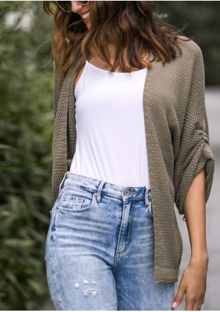 Solid Knitted Ruched Pocket Casual Cardigan