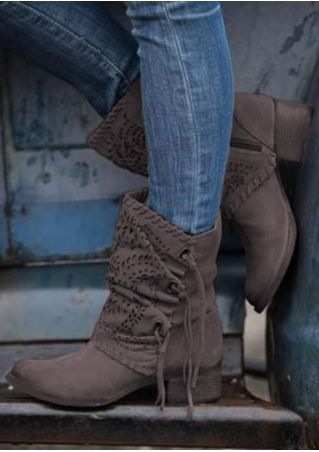 Solid Hollow Out Round Toe Fashion Boots