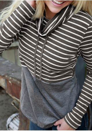 Striped Splicing Drawstring Long Sleeve Sweatshirt