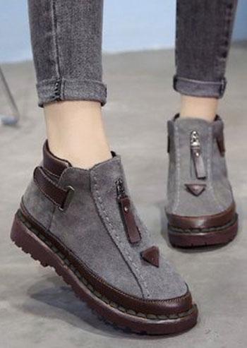 Splicing Round Toe Fashion Flat Boots